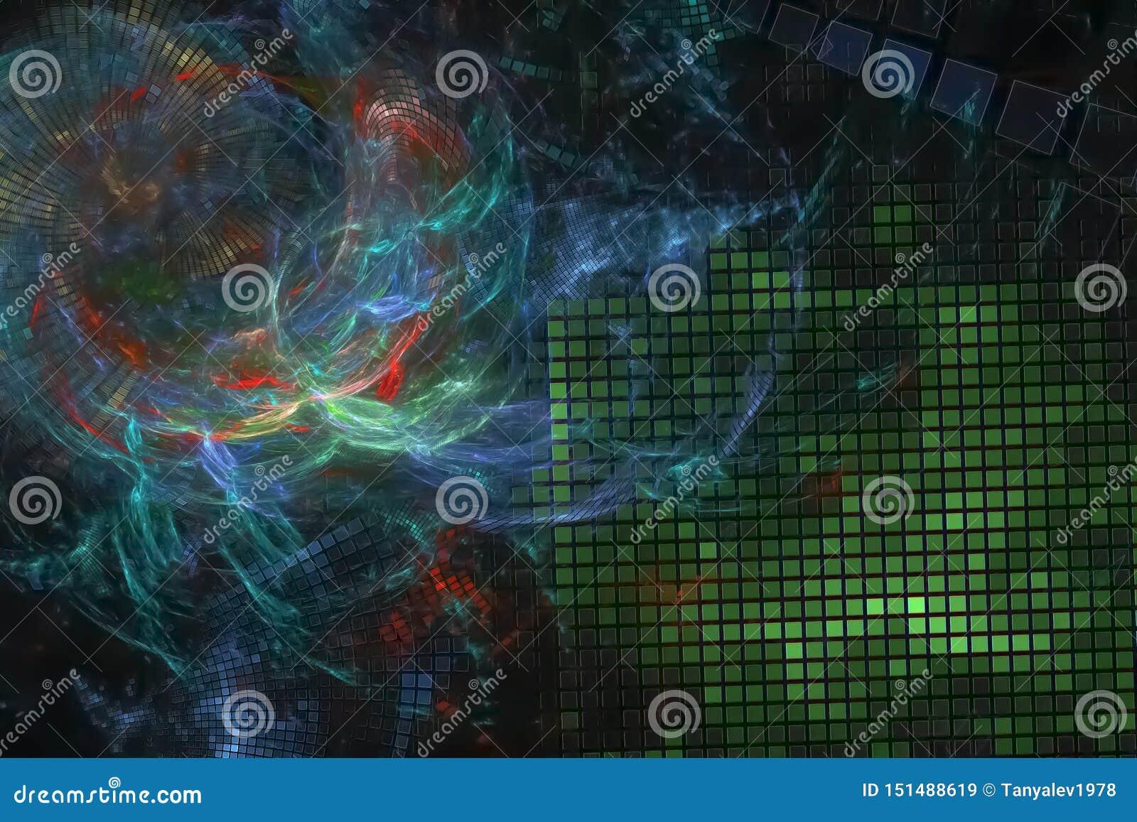 艺术性摘要数字意想不到的曲线纹理能量概念分数维现代波浪充满活力的混乱幻想的设计,发光