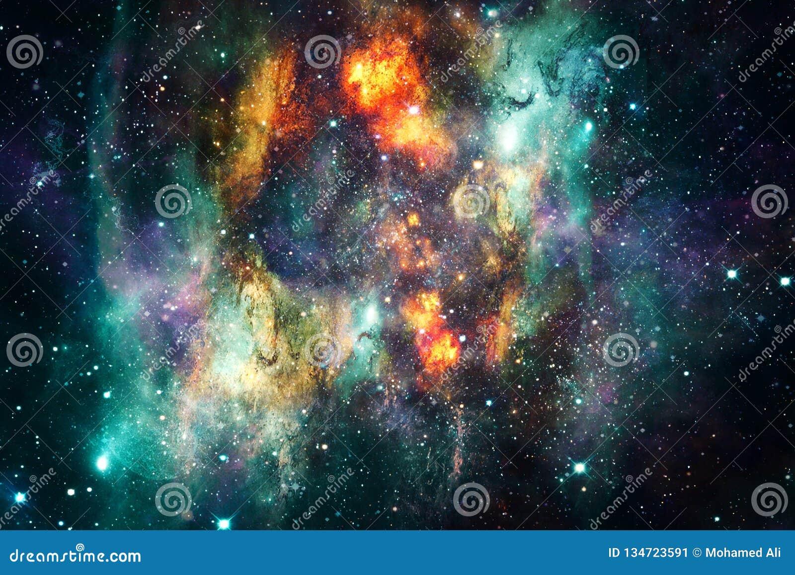 艺术性的抽象超新星爆炸在多彩多姿的发光的星云星系背景中