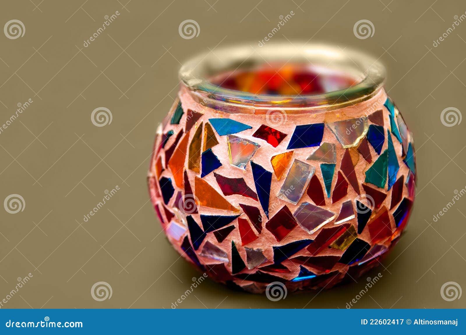 艺术性的蜡烛种族玻璃持有人马赛克