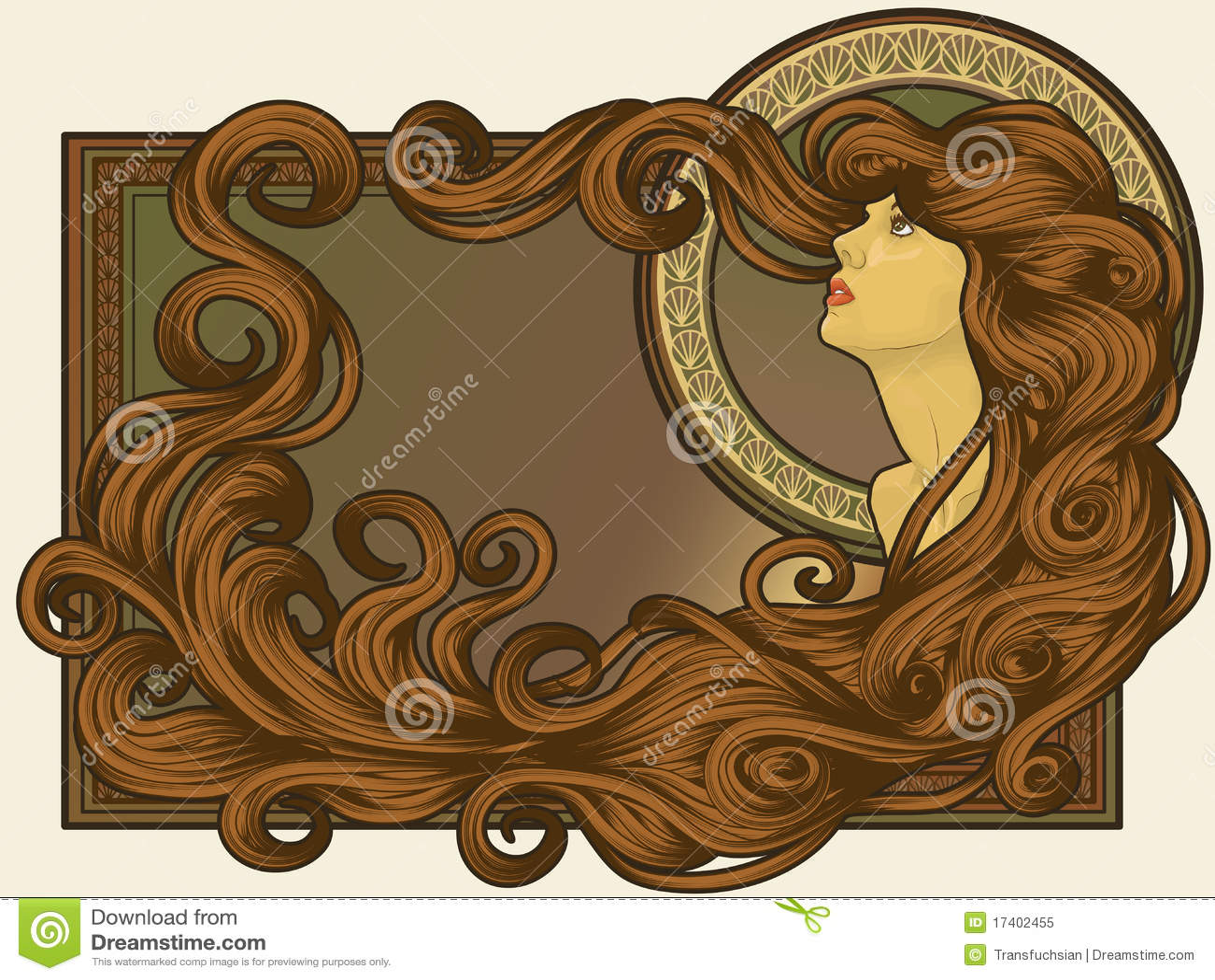 艺术表面头发长的nouveau s称呼了妇女