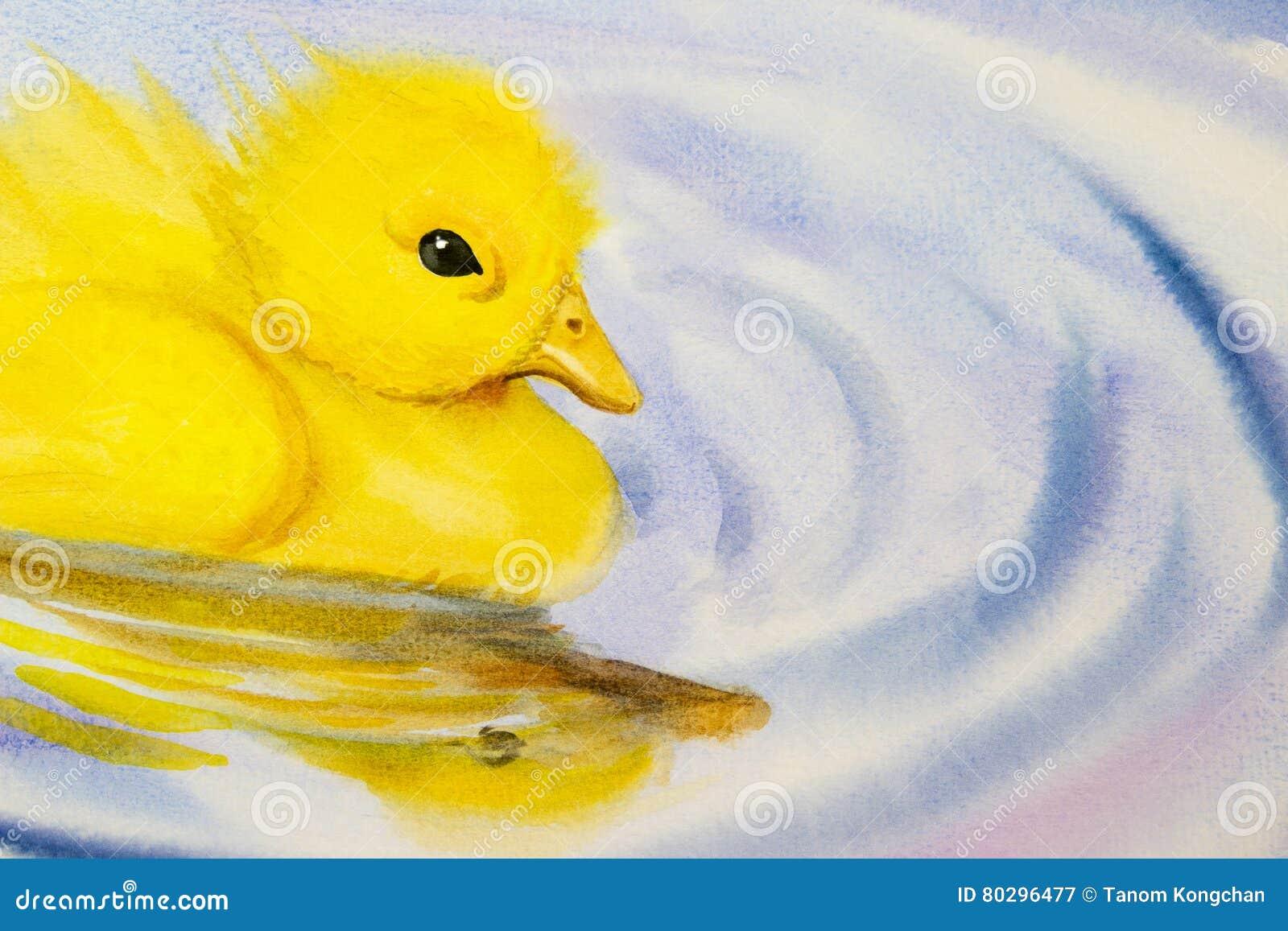绘画艺术水彩风景原始五颜六色小的黄色鸭子