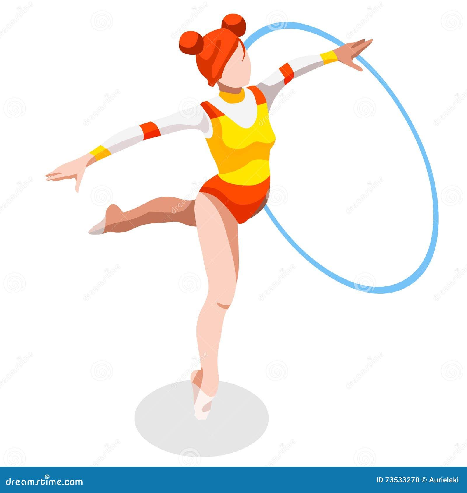 节奏体操箍夏天比赛象集合 3D等量GymnastOlympics体育冠军国际竞争