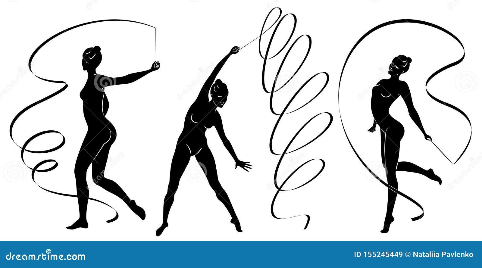 ?? 节奏体操 一个女孩的剪影有丝带的 美丽的体操运动员妇女是亭亭玉立和年轻的
