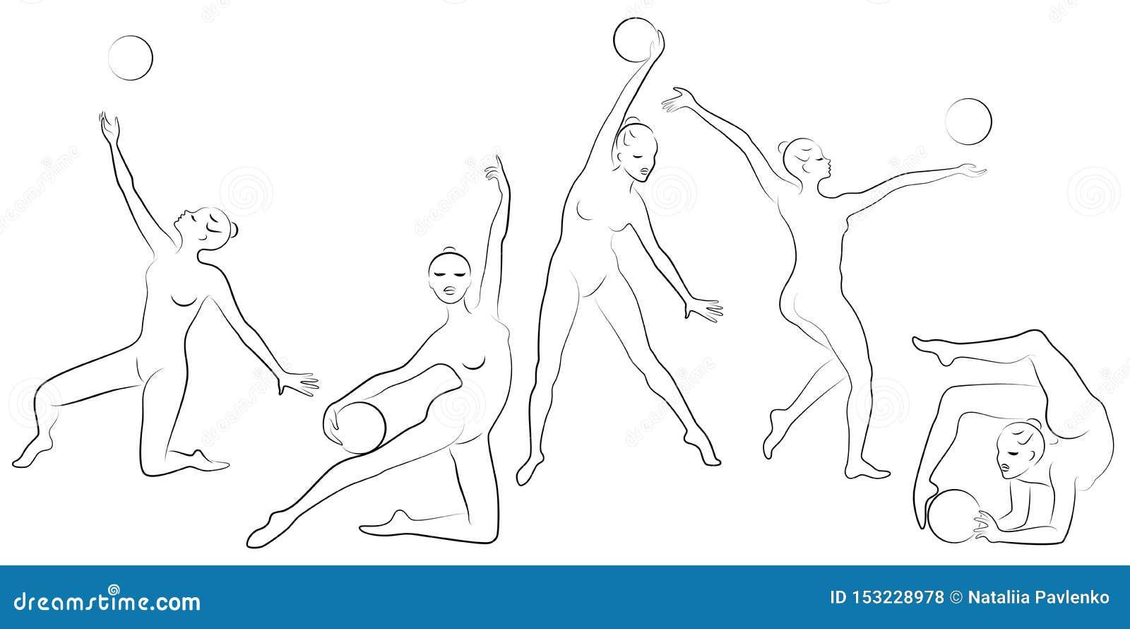 ?? 节奏体操 一个女孩的剪影有箍的 美丽的体操运动员妇女是亭亭玉立和年轻的 ??