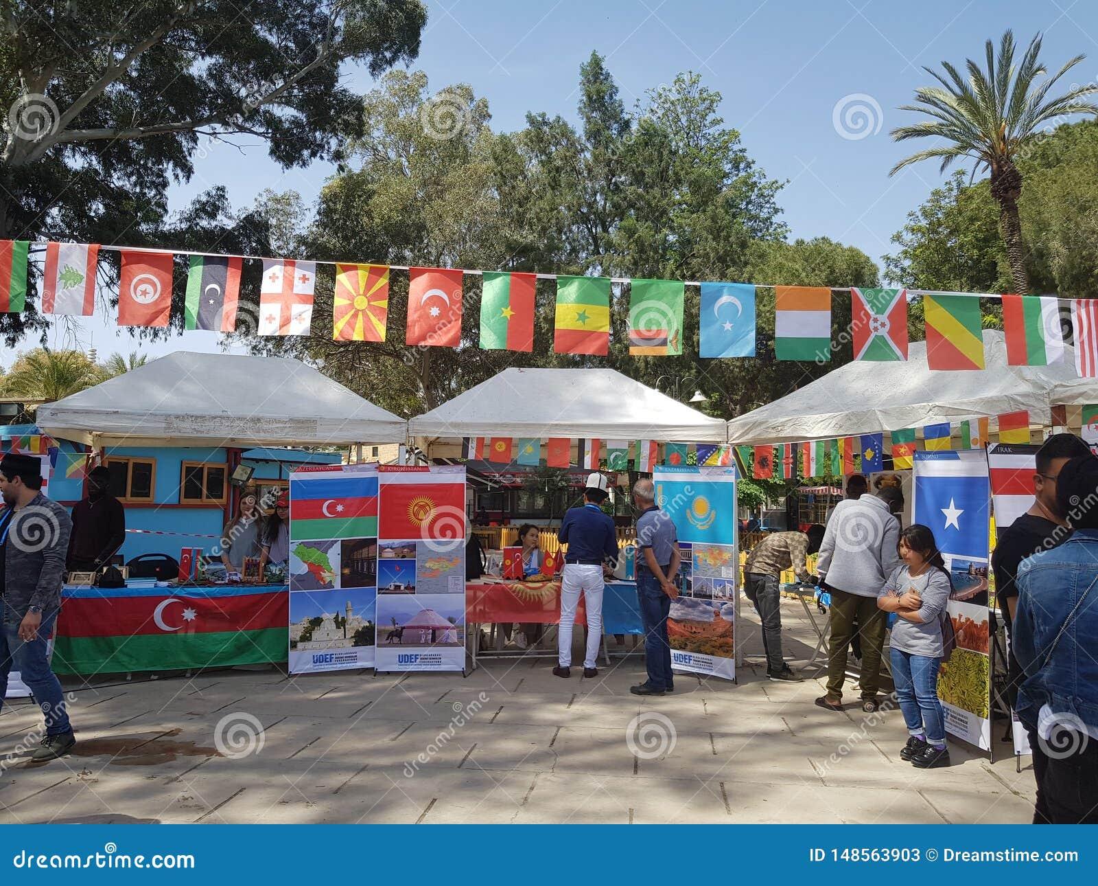 节日,来自世界各地学生 照片显示哈萨克斯坦,吉尔吉斯斯坦,阿塞拜疆国家