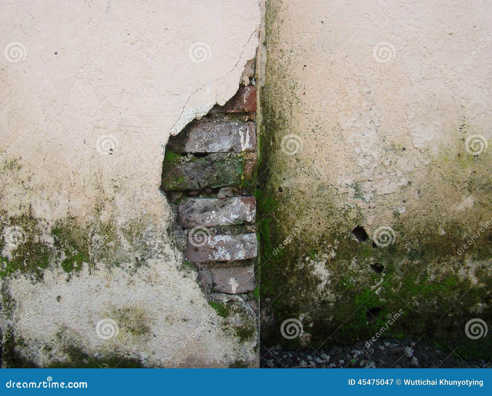 细节破裂的砖墙