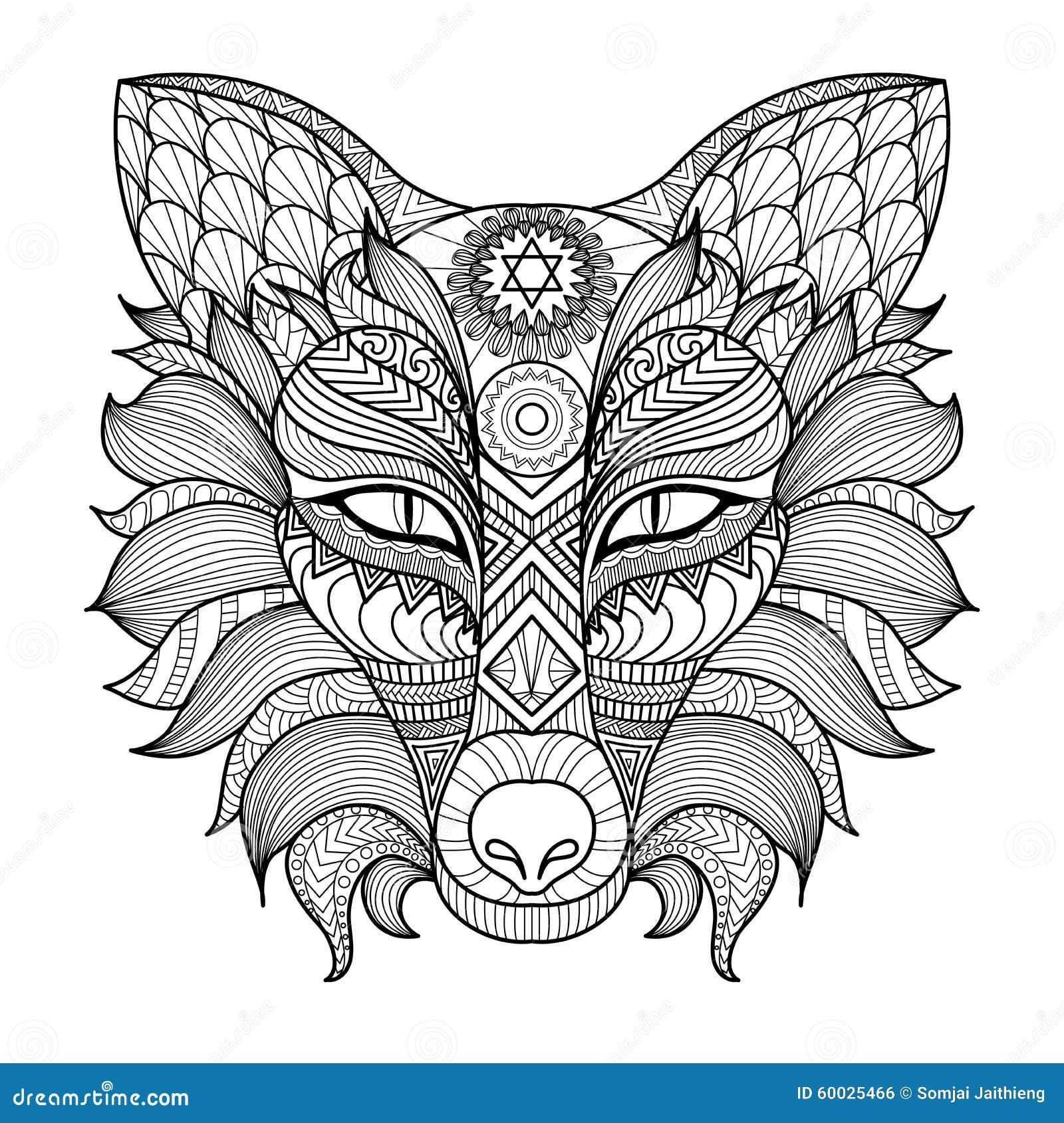 细节zentangle狐狸着色页