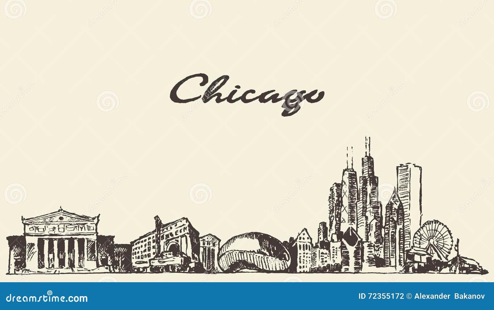 芝加哥地平线葡萄酒例证被画的剪影