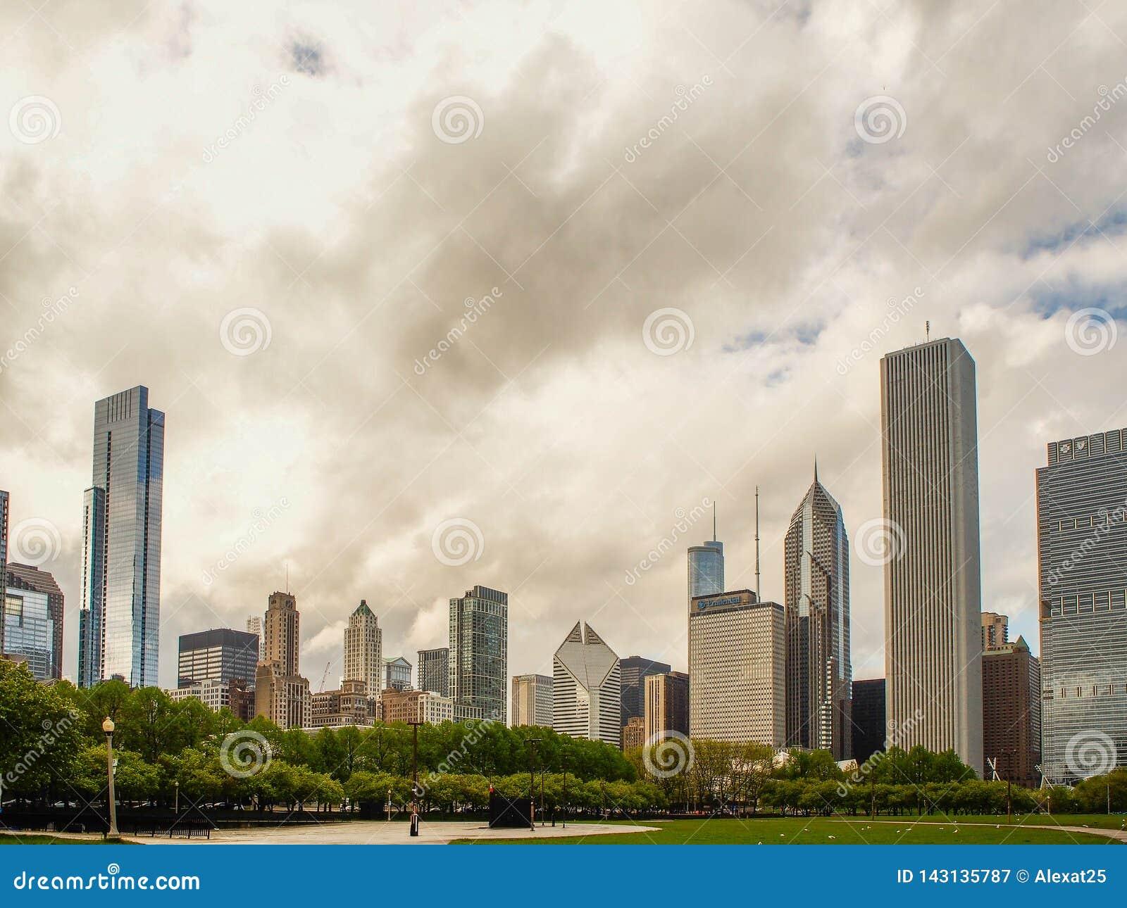 芝加哥,美国-芝加哥楼adn千禧公园,芝加哥市,美国