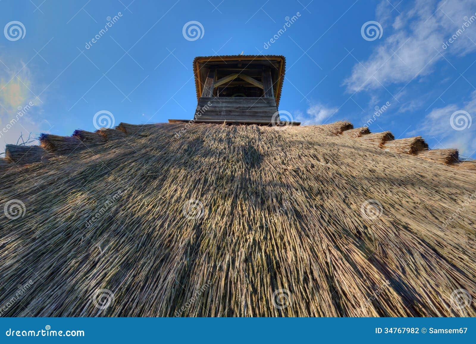 芦苇茅草屋顶细节
