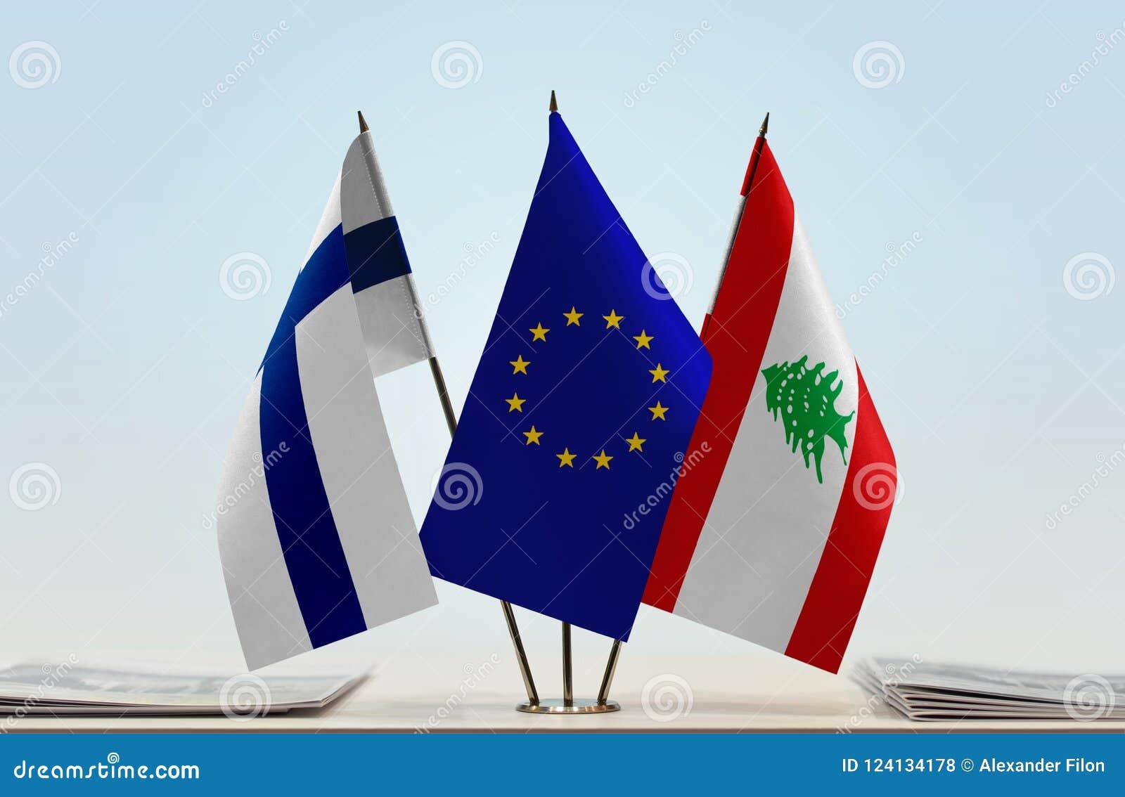 芬兰欧盟和黎巴嫩的旗子