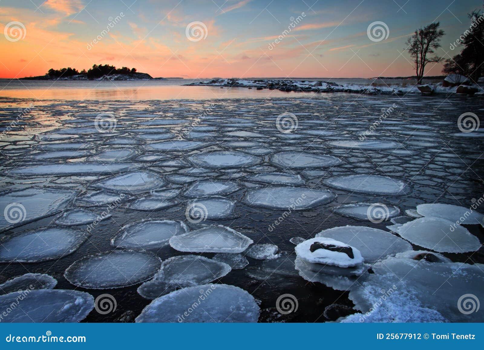 芬兰: 冬天日落