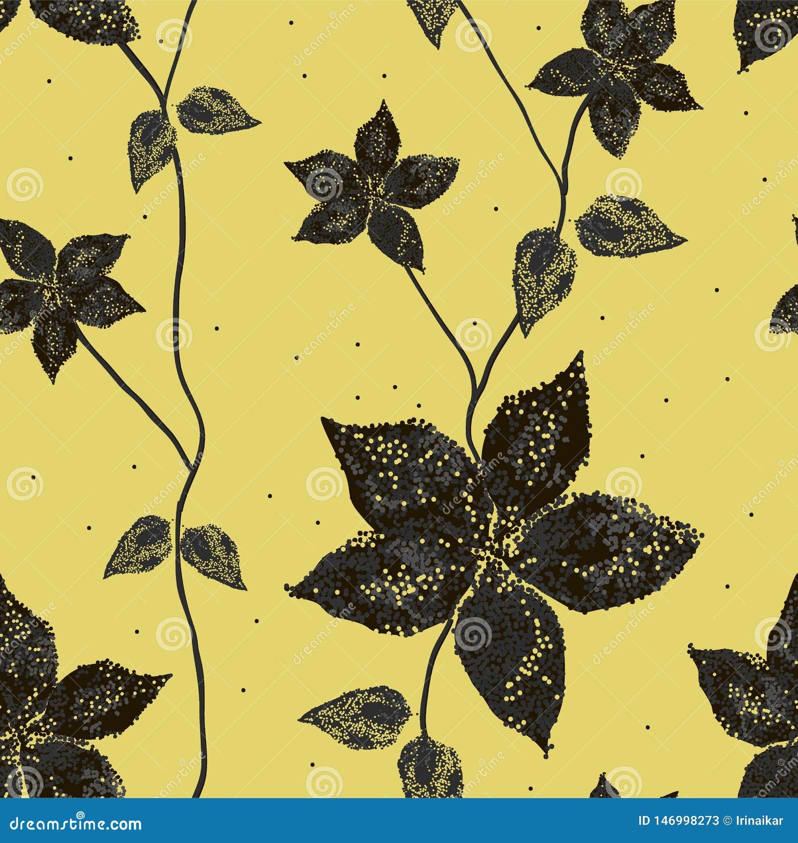 花剪影与叶子的在金黄背景
