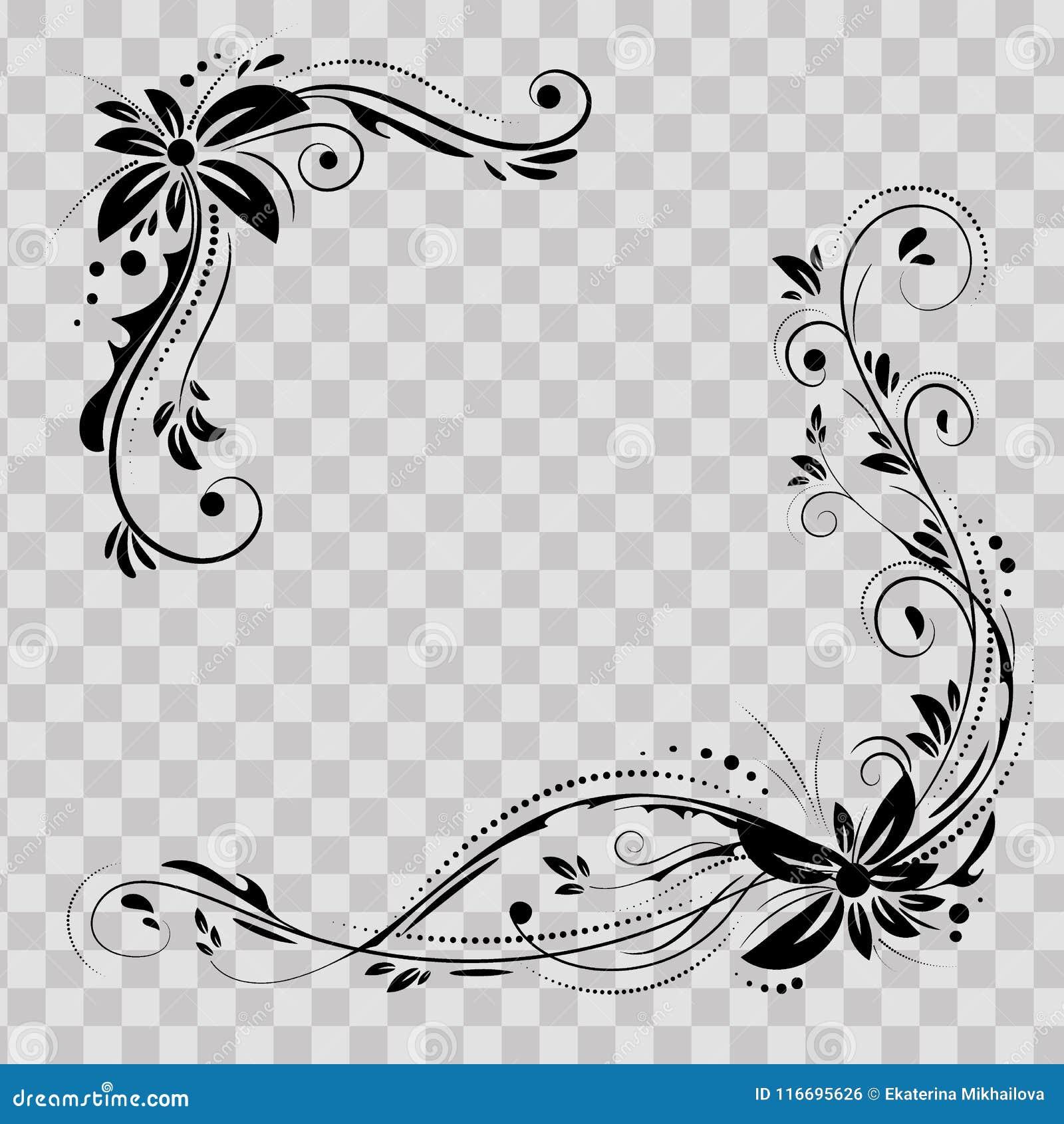 花卉壁角设计 装饰在透明背景的黑花-导航股票 与用花装饰的装饰边界