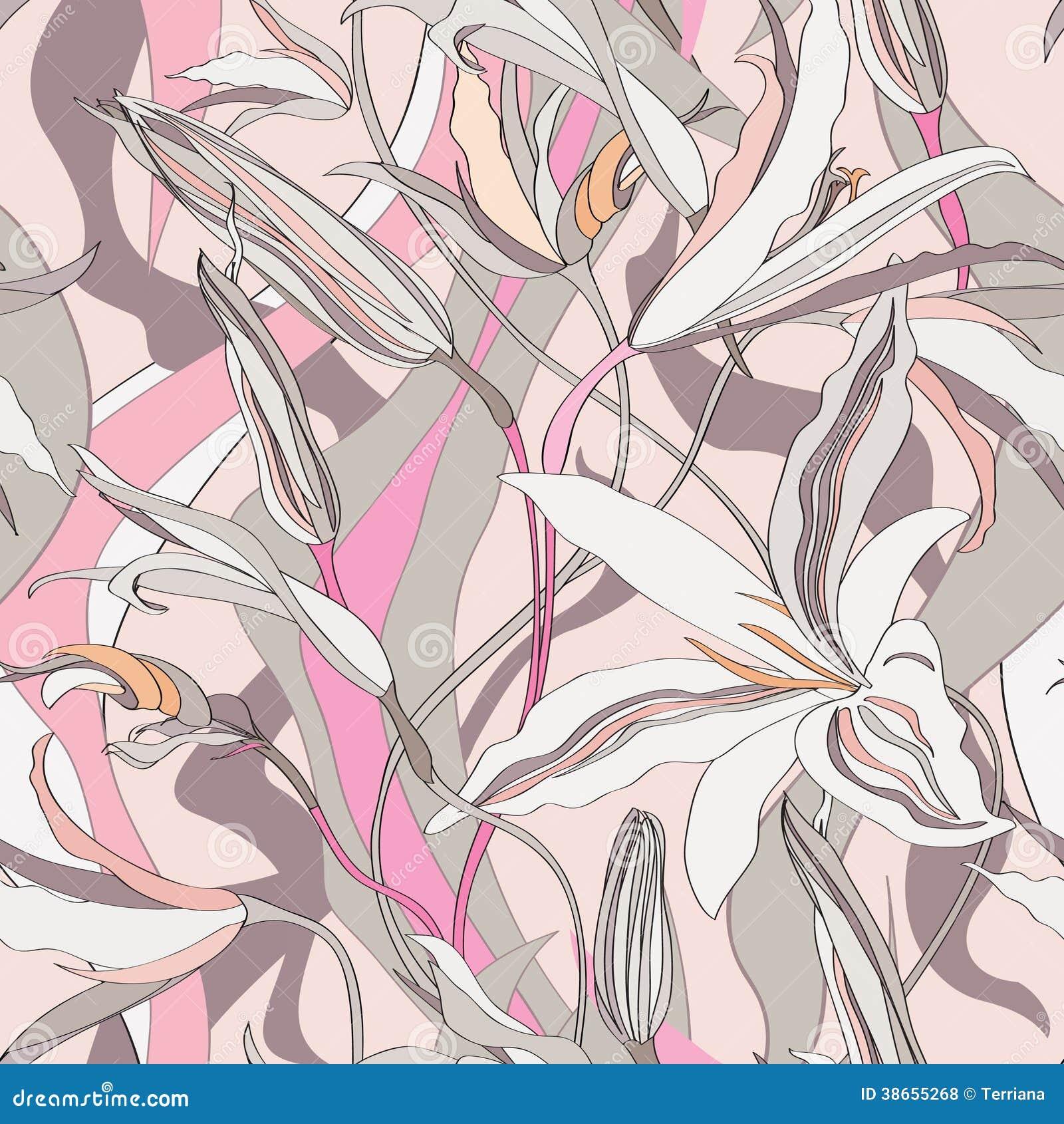 花卉无缝的背景。抽象百合纹理。