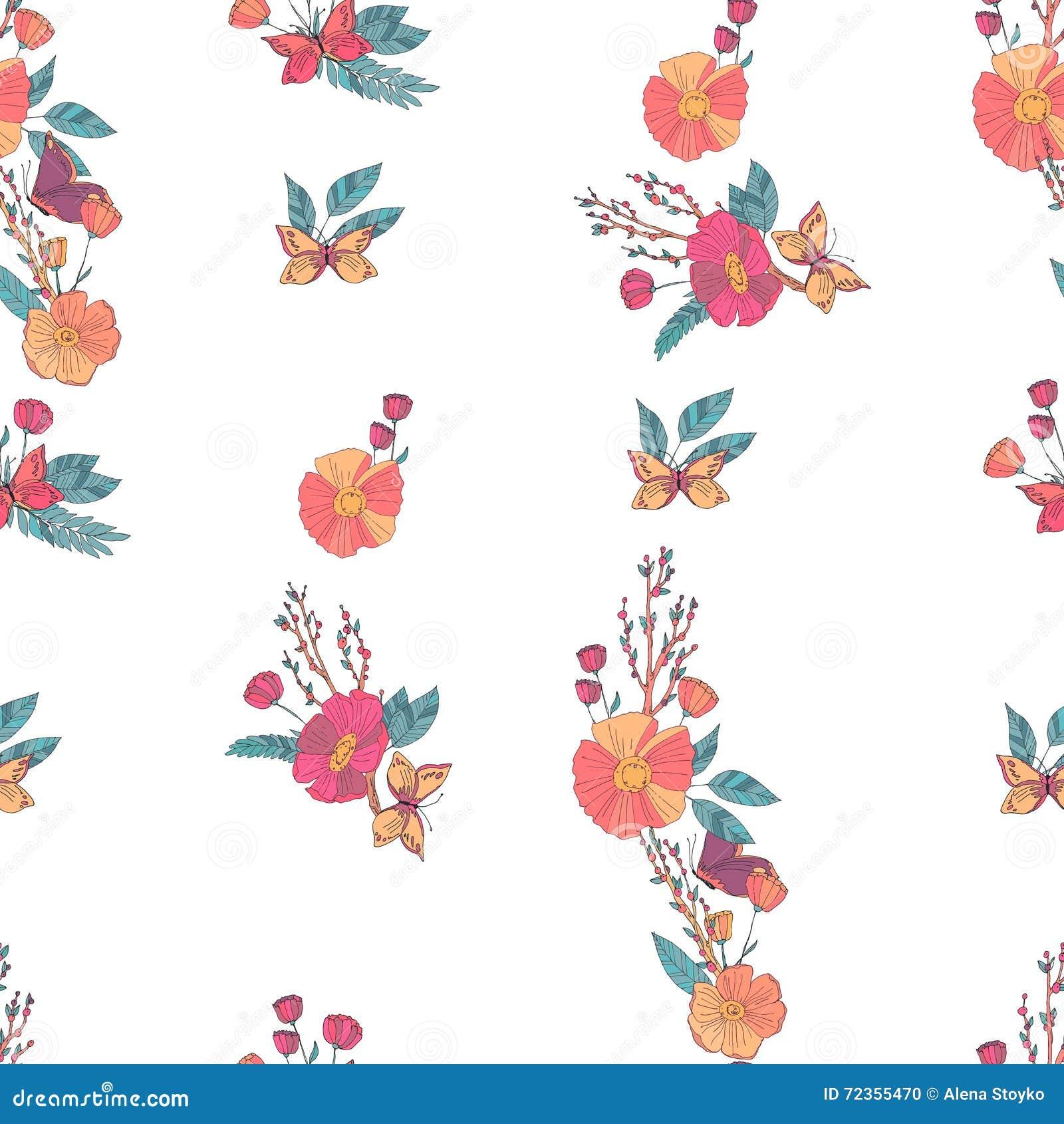 花卉无缝的葡萄酒野花样式