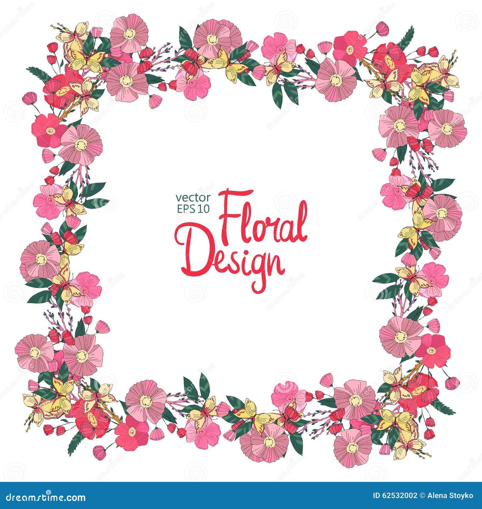 花卉框架用花莓果和蝴蝶