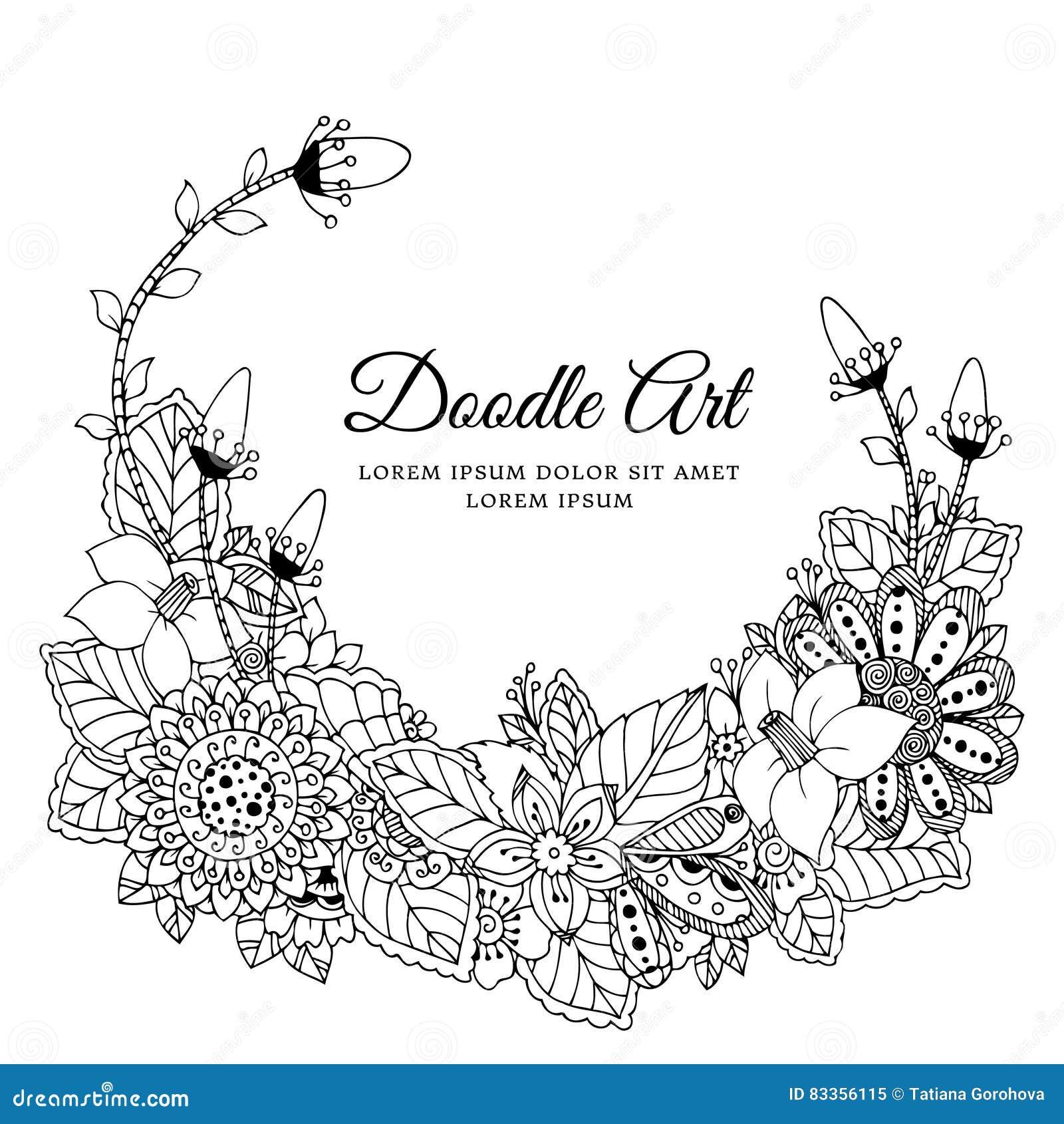 花卉框架禅宗缠结的传染媒介例证 Dudlart 成人的彩图反重音