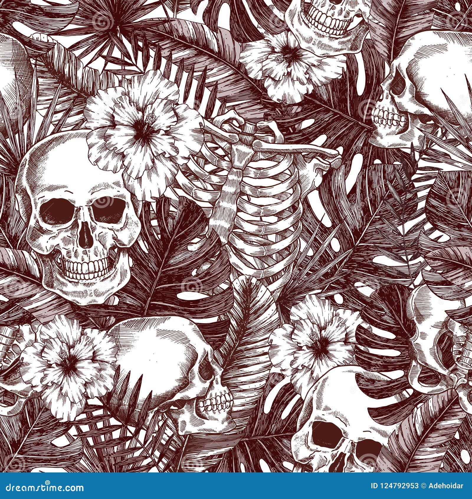 花卉解剖学 万圣夜热带葡萄酒无缝的样式 Creppy密林头骨背景