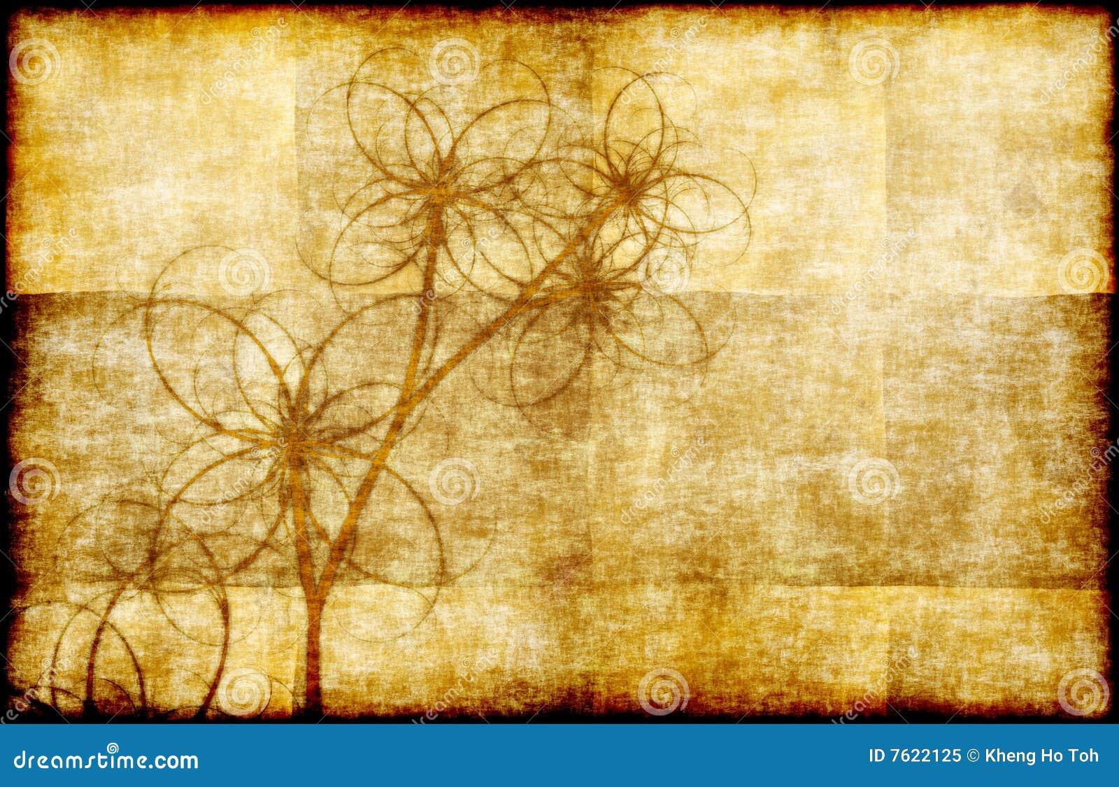 花卉grunge羊皮纸