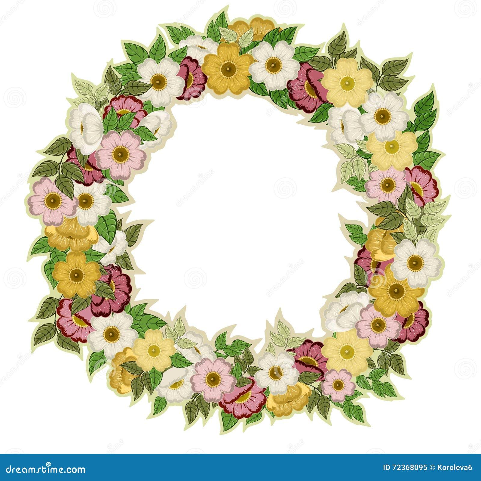 从花和叶子的圆的框架