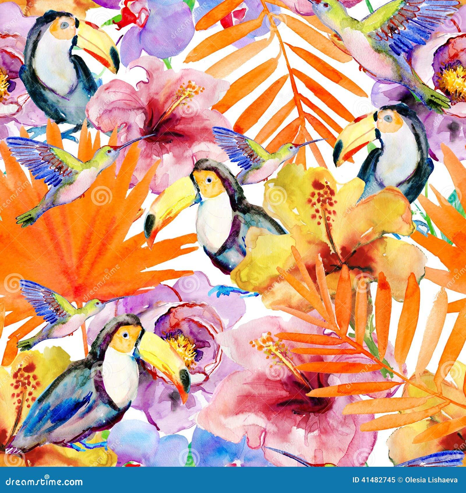 花和鸟在白色背景 绘画