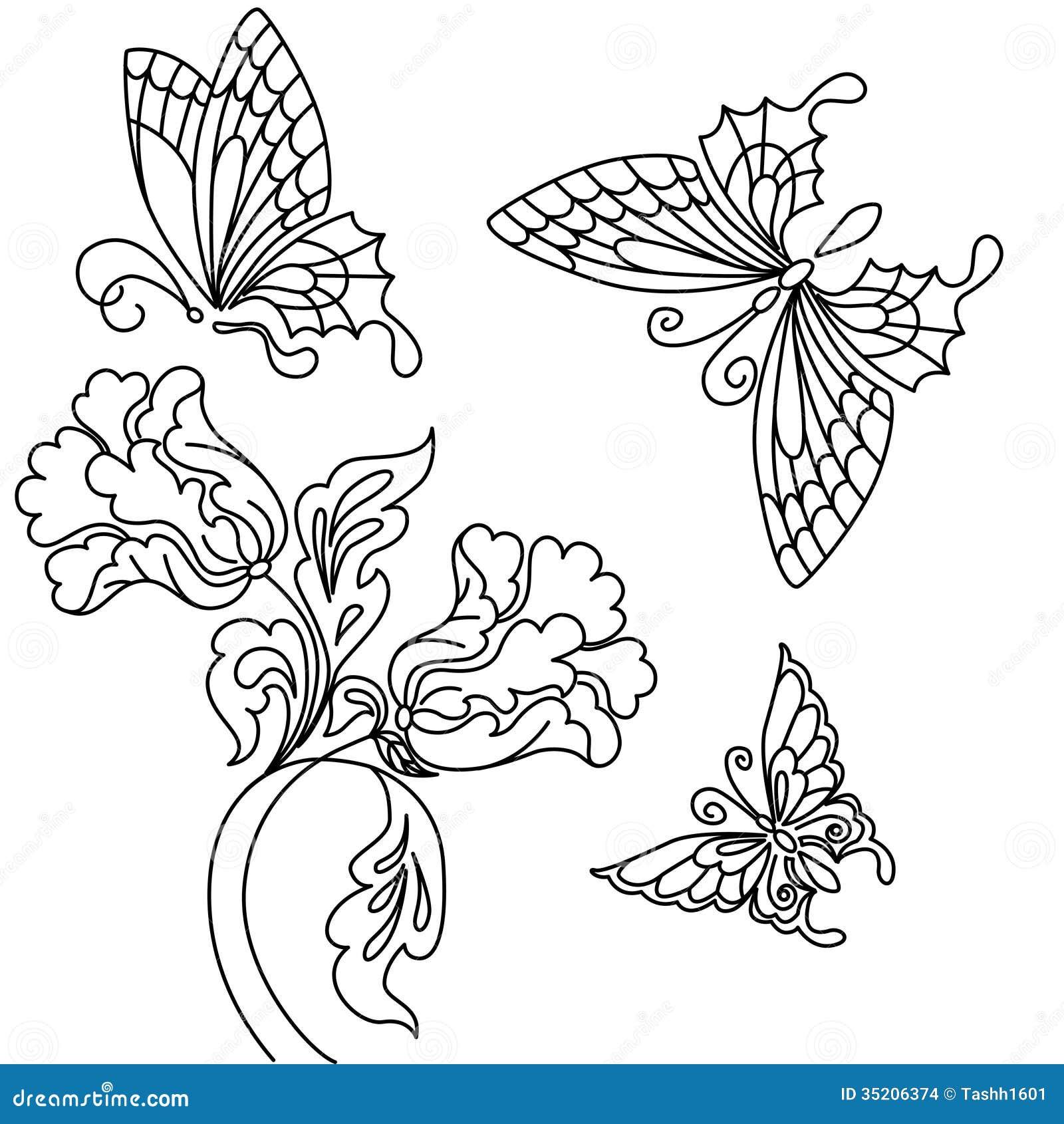 花和蝴蝶.黑白图画.