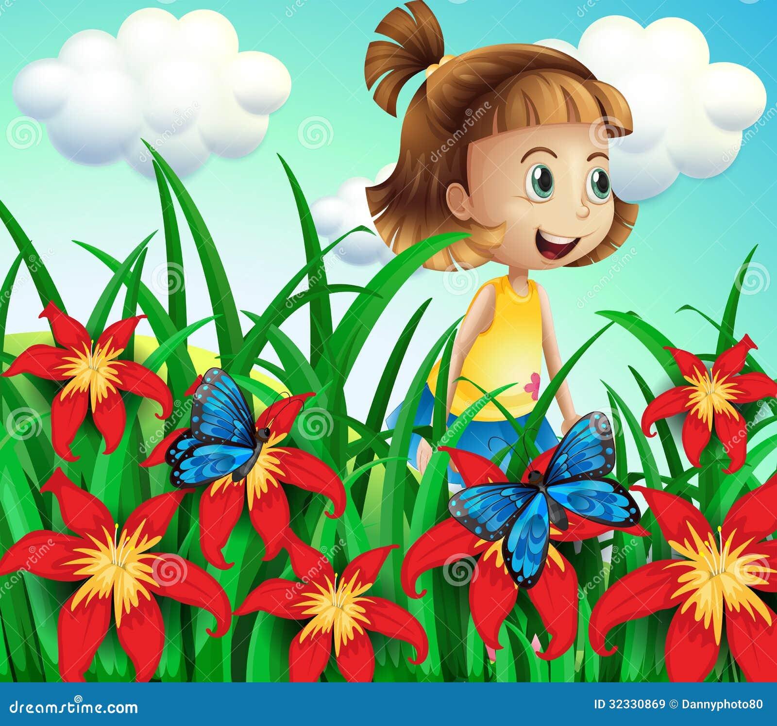 一个小女孩的例证花园的有蝴蝶的.图片