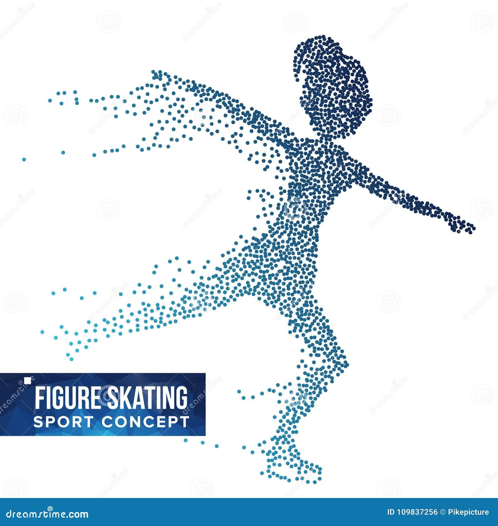 花样滑冰球员剪影传染媒介 半音小点 行动的动态滑冰的运动员 飞行微粒 体育运动