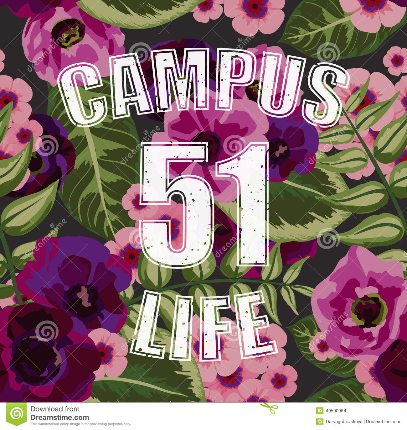 花热带无缝的样式与校园生活