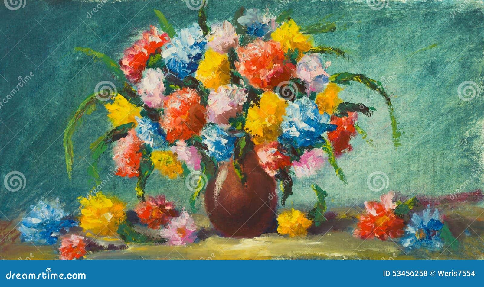 花瓶花 美丽的花绘画在帆布的 附庸风雅