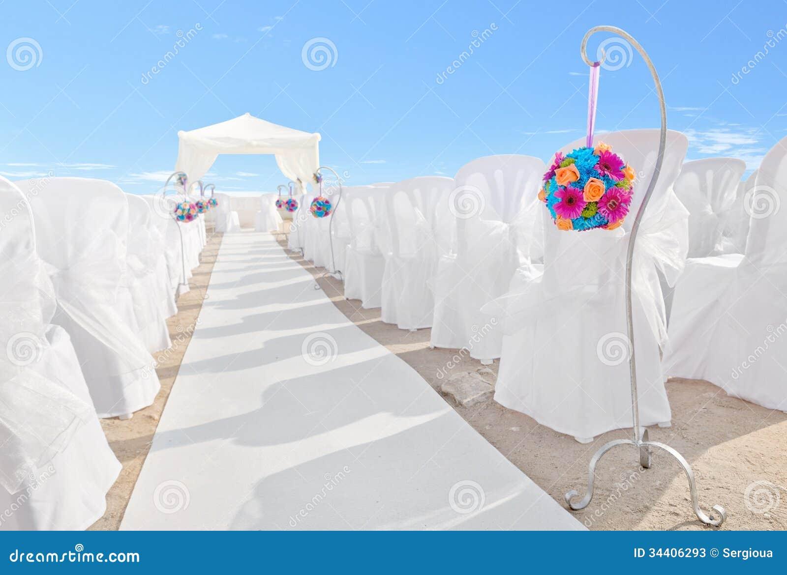 花花束在装饰的婚礼。
