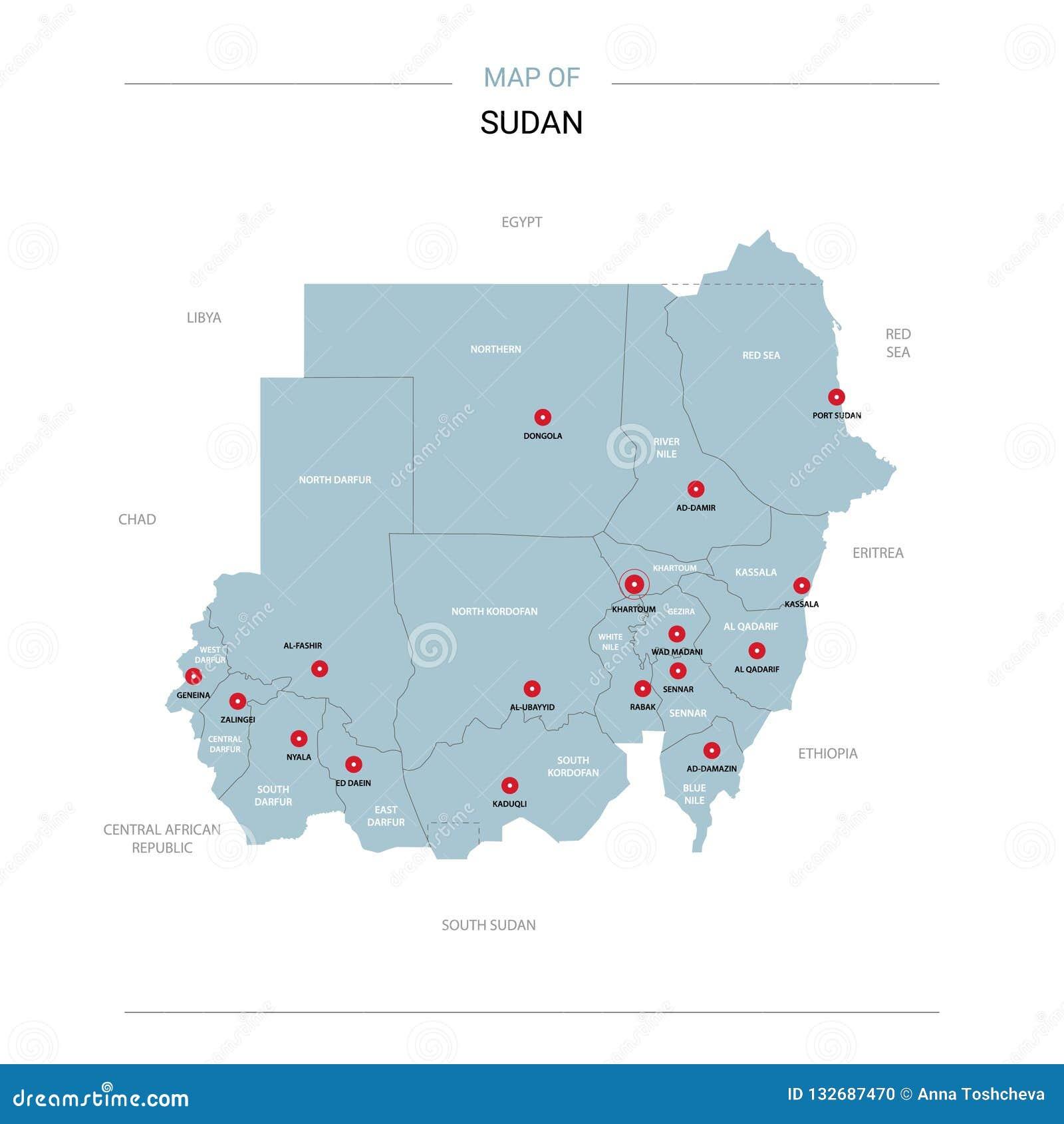 苏丹与红色别针的地图传染媒介