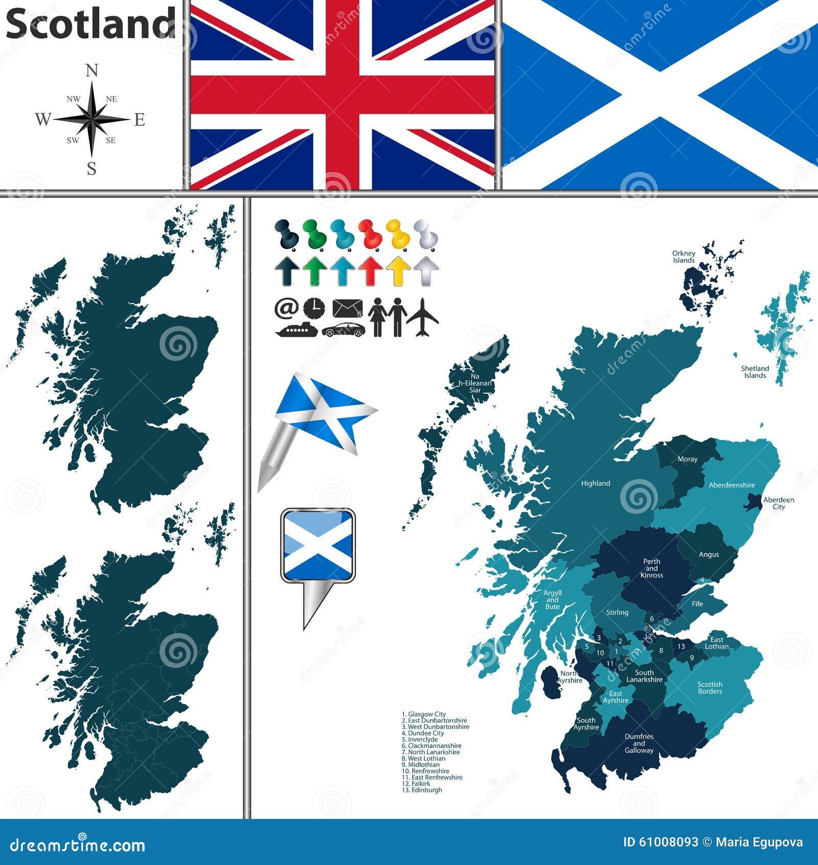 苏格兰的地图有细分的图片