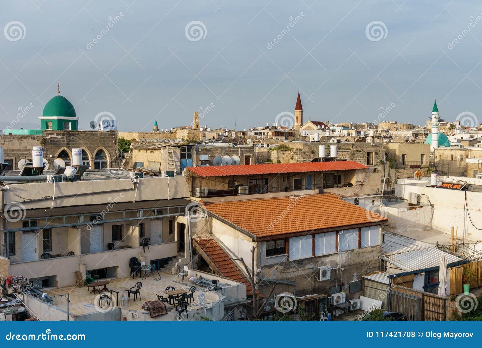 英亩,以色列- 2018年3月23日:在老市的看法Akko