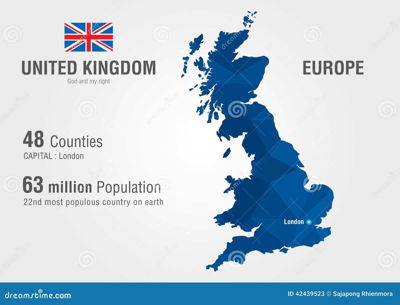 英国世界地图 与映象点金刚石textu的英国地图