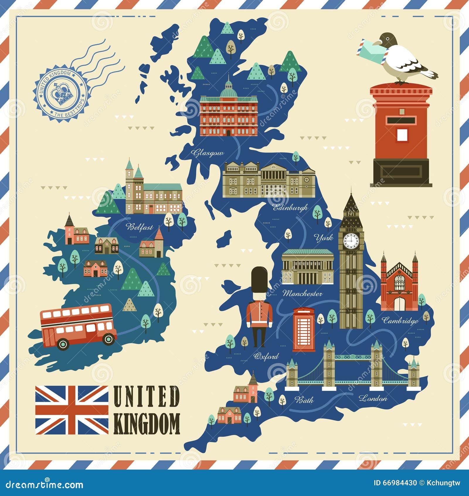 与吸引力的可爱的英国旅行地图.图片