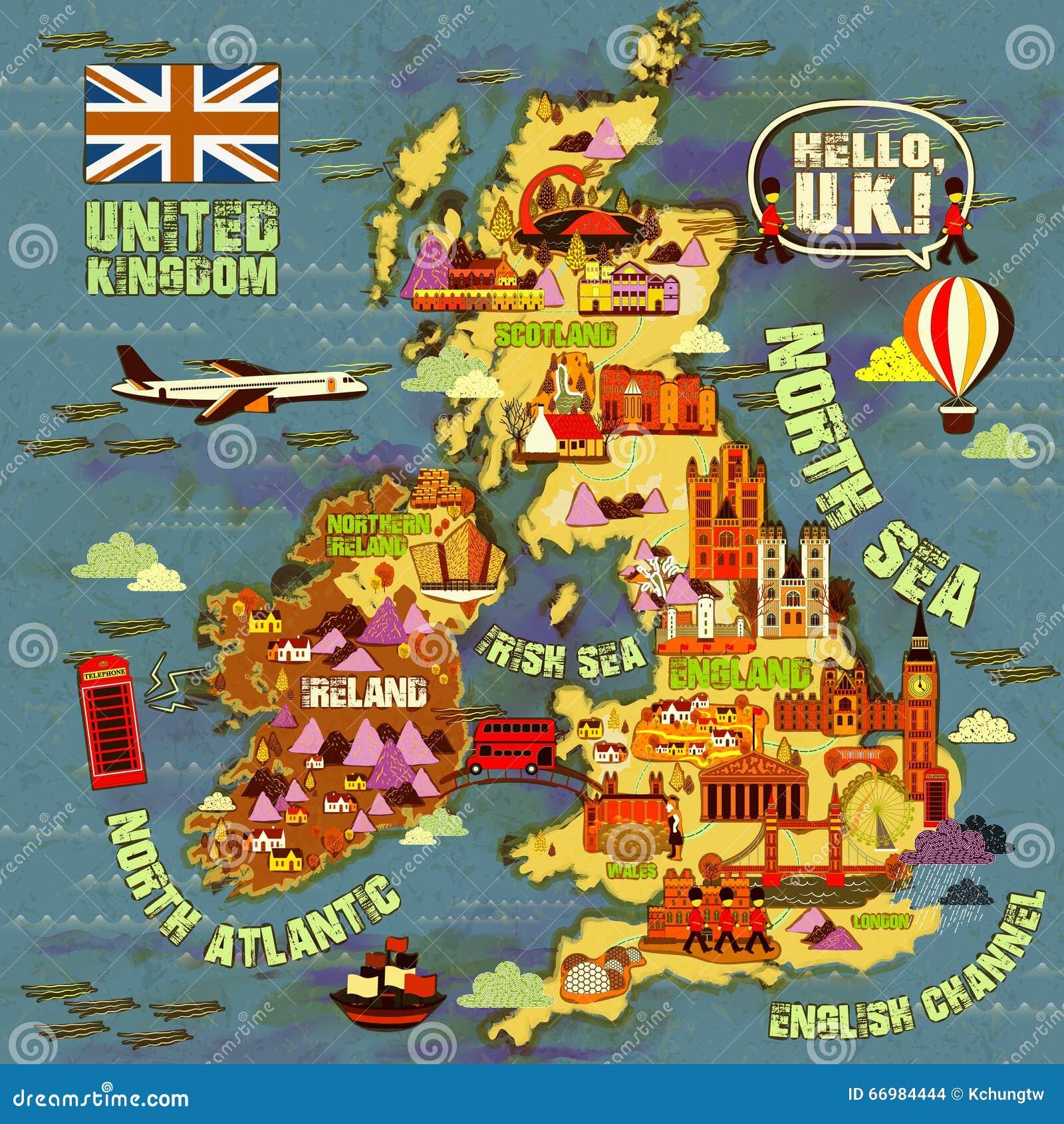 与吸引力象的可爱的英国旅行地图.图片