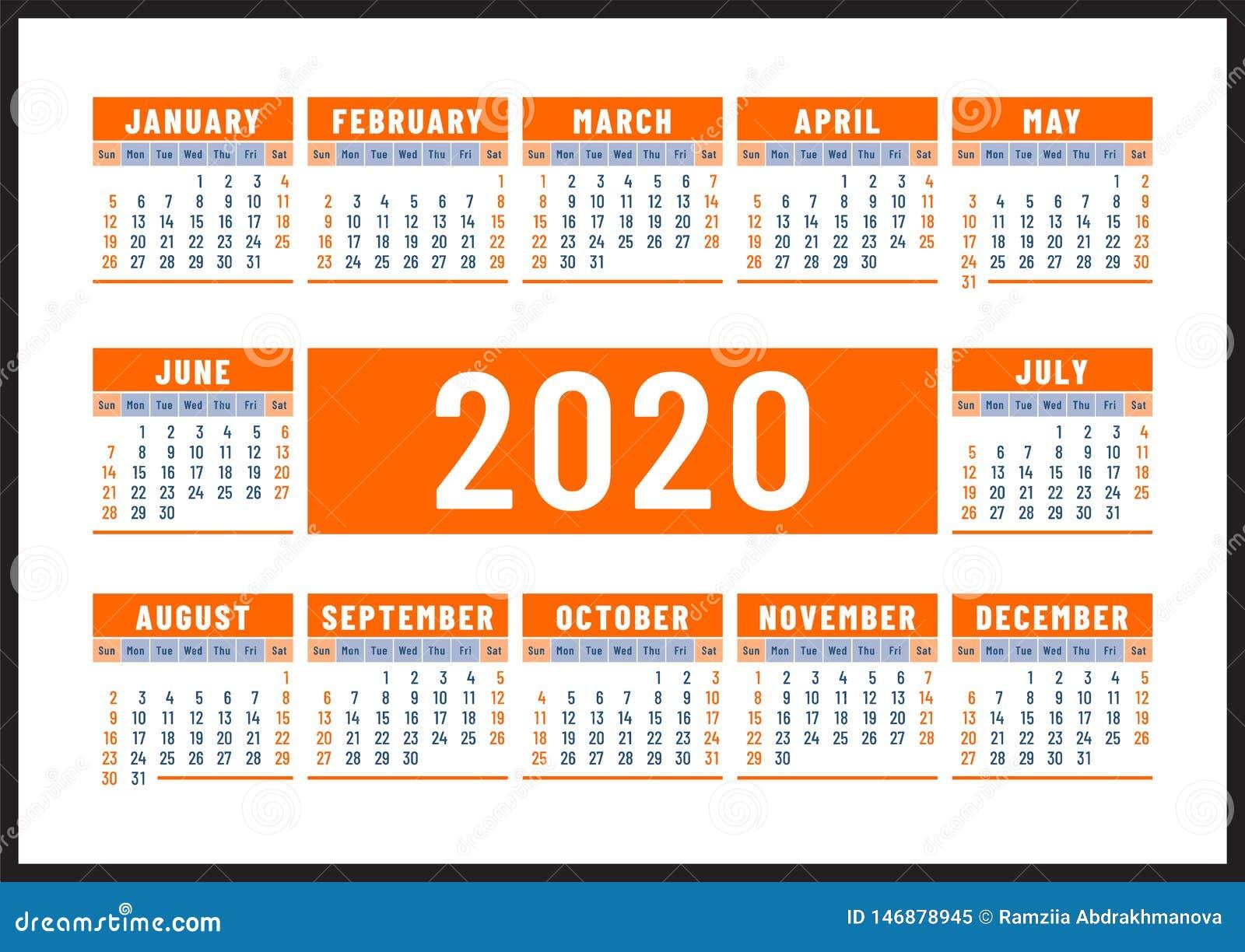 ??2020? 英国橘黄色传染媒介设计 r 水平的日历设计模板