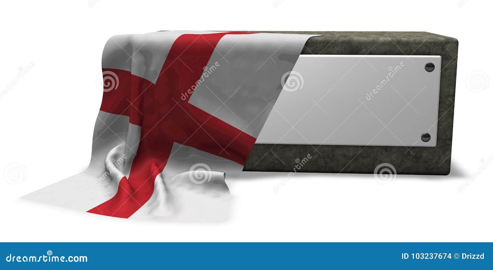 英国的石插口和旗子