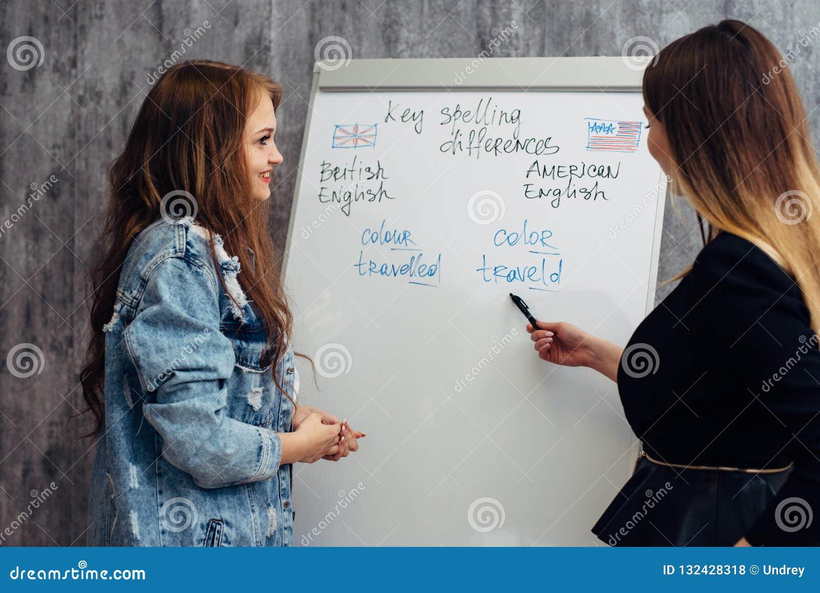 英语学校 教训、老师和学生谈话