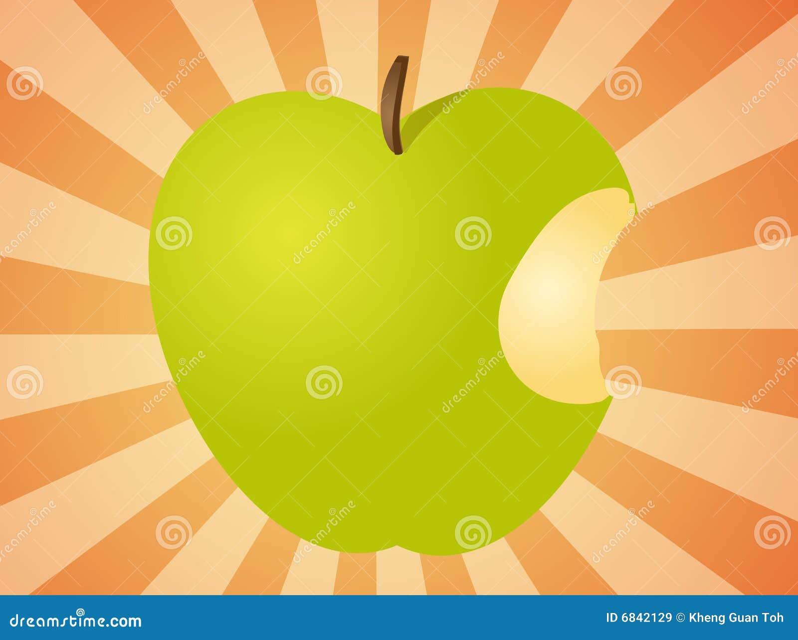 苹果叮咬例证