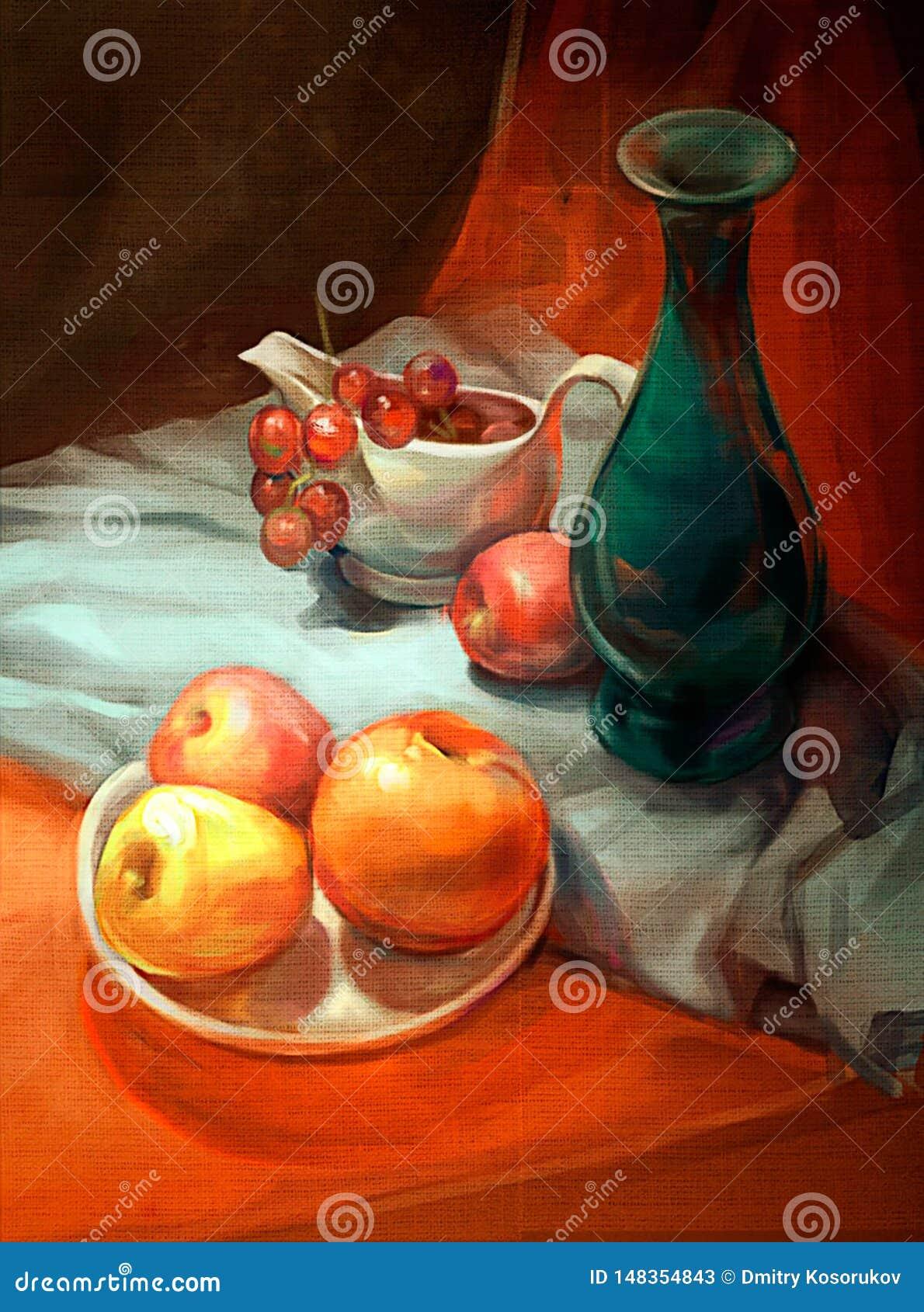 苹果和葡萄的例证在桌上