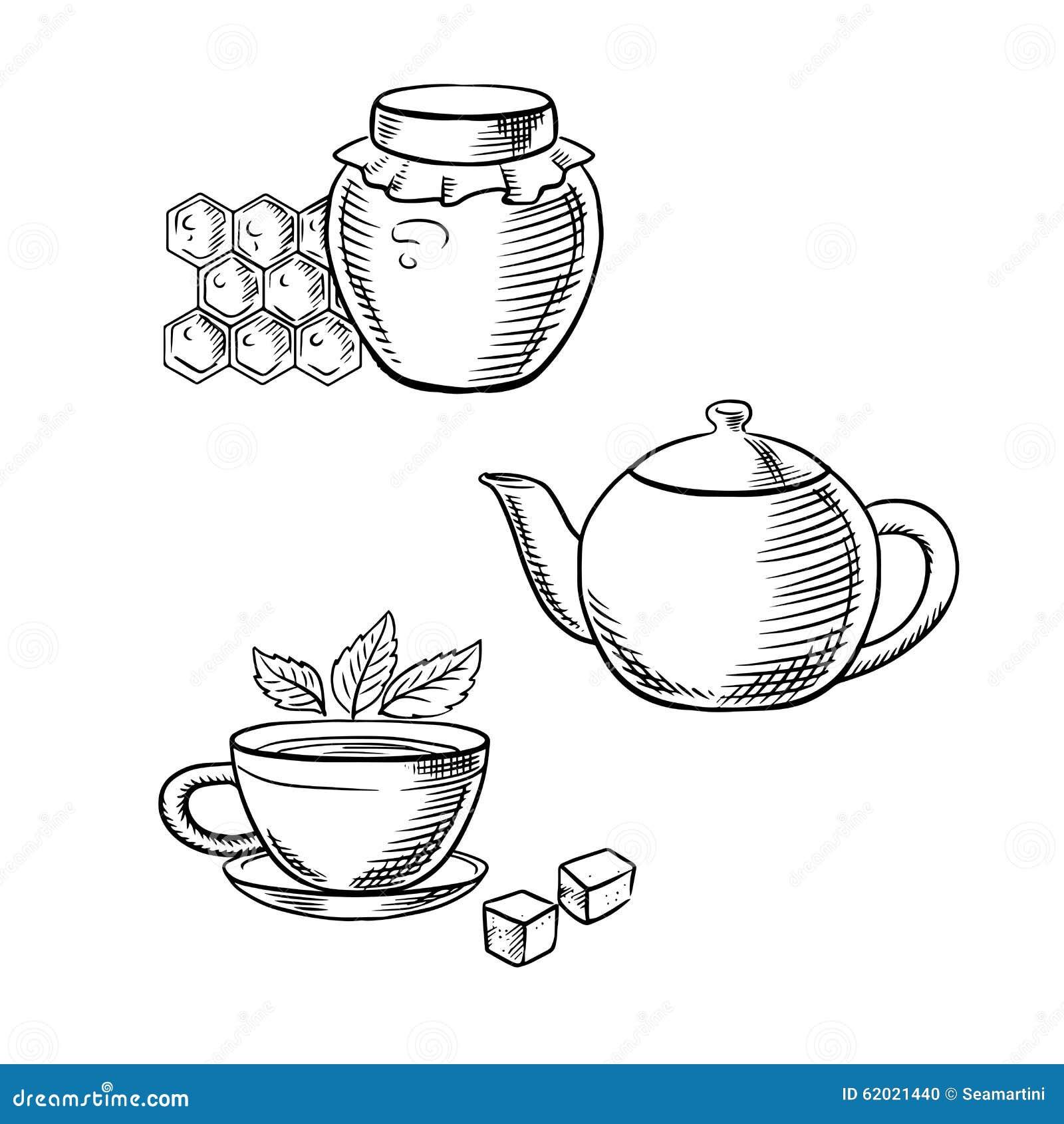 茶用新鲜的茶叶和糖立方体,减速火箭的茶壶和玻璃瓶子与蜂窝的蜂蜜图片