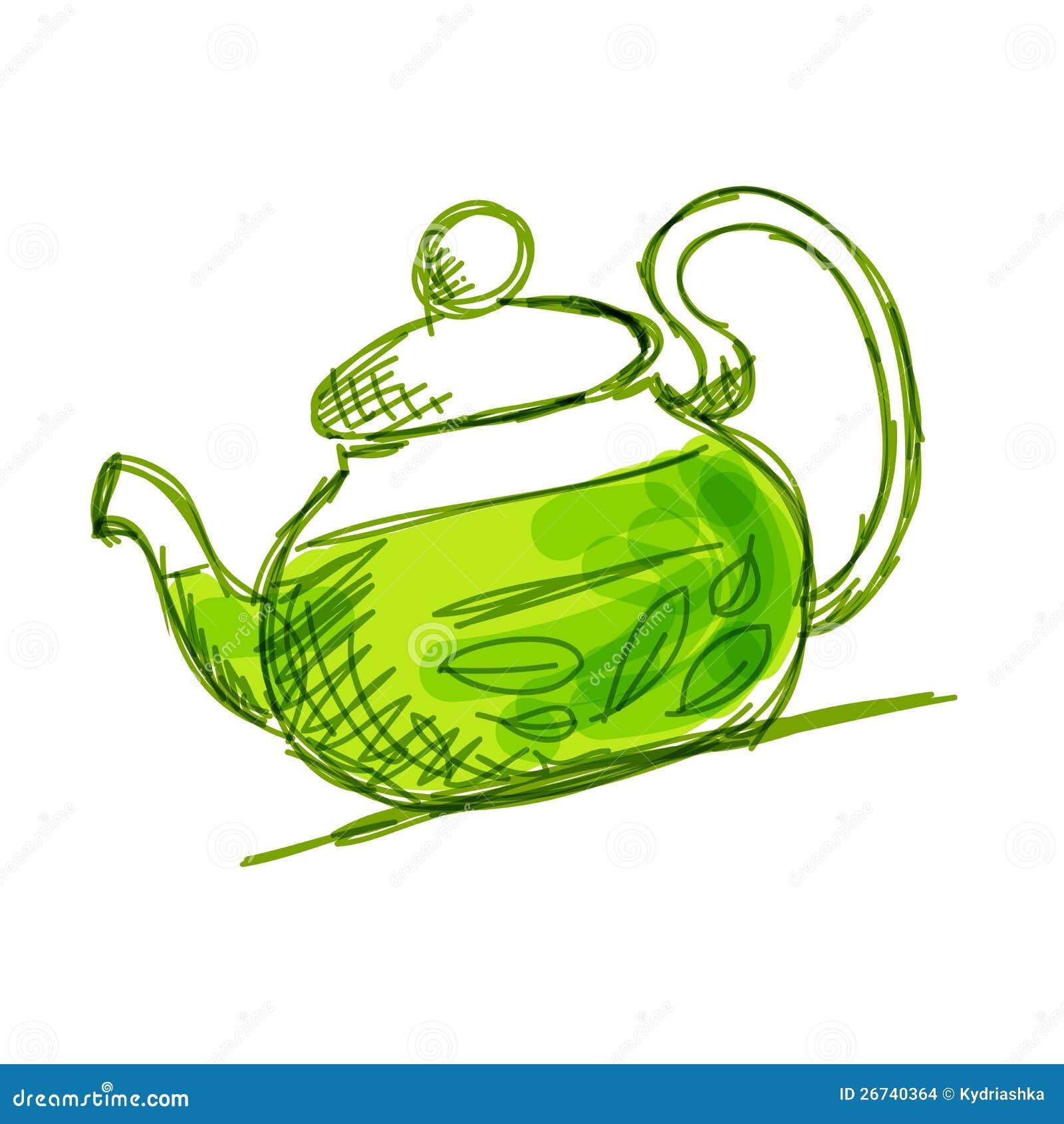 茶壶草图用绿茶