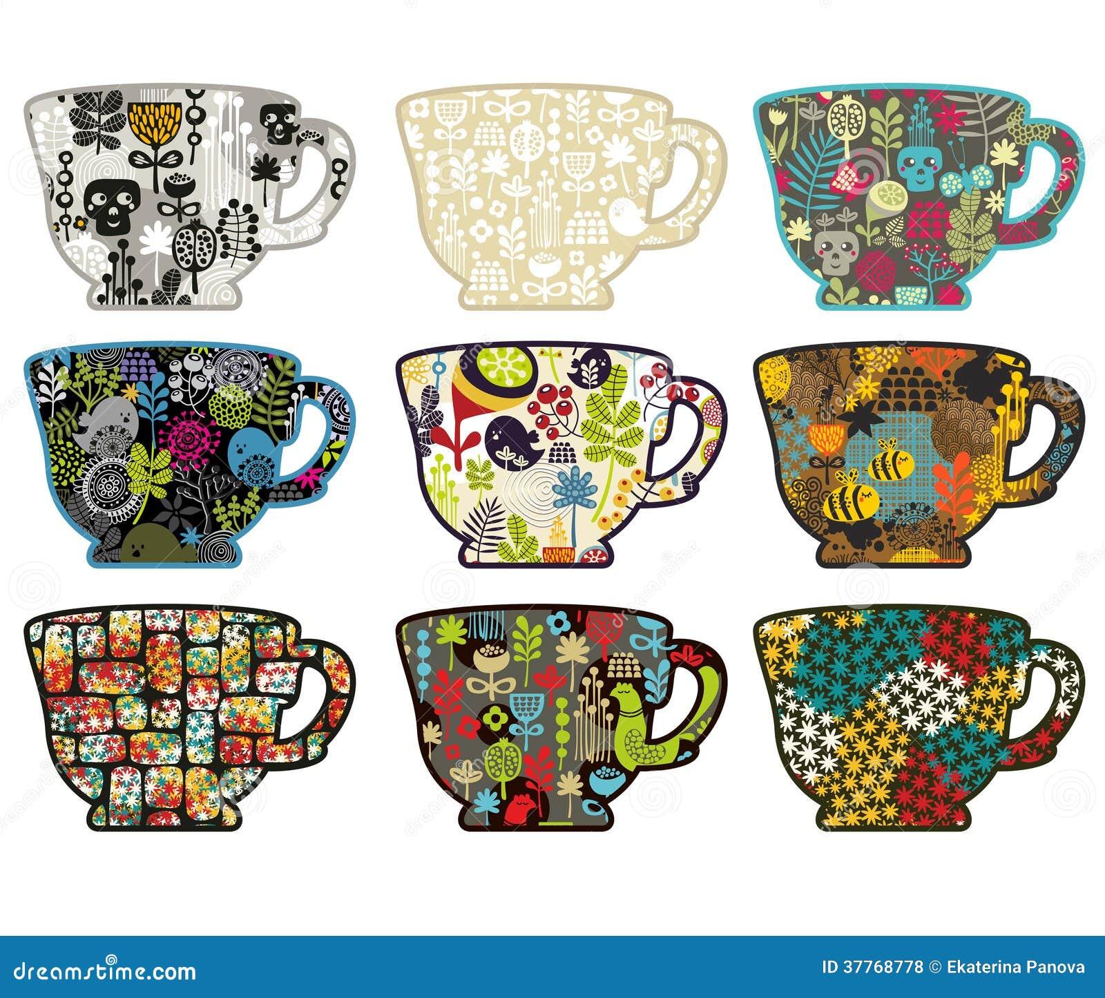 茶杯的汇集用不同的样式的。