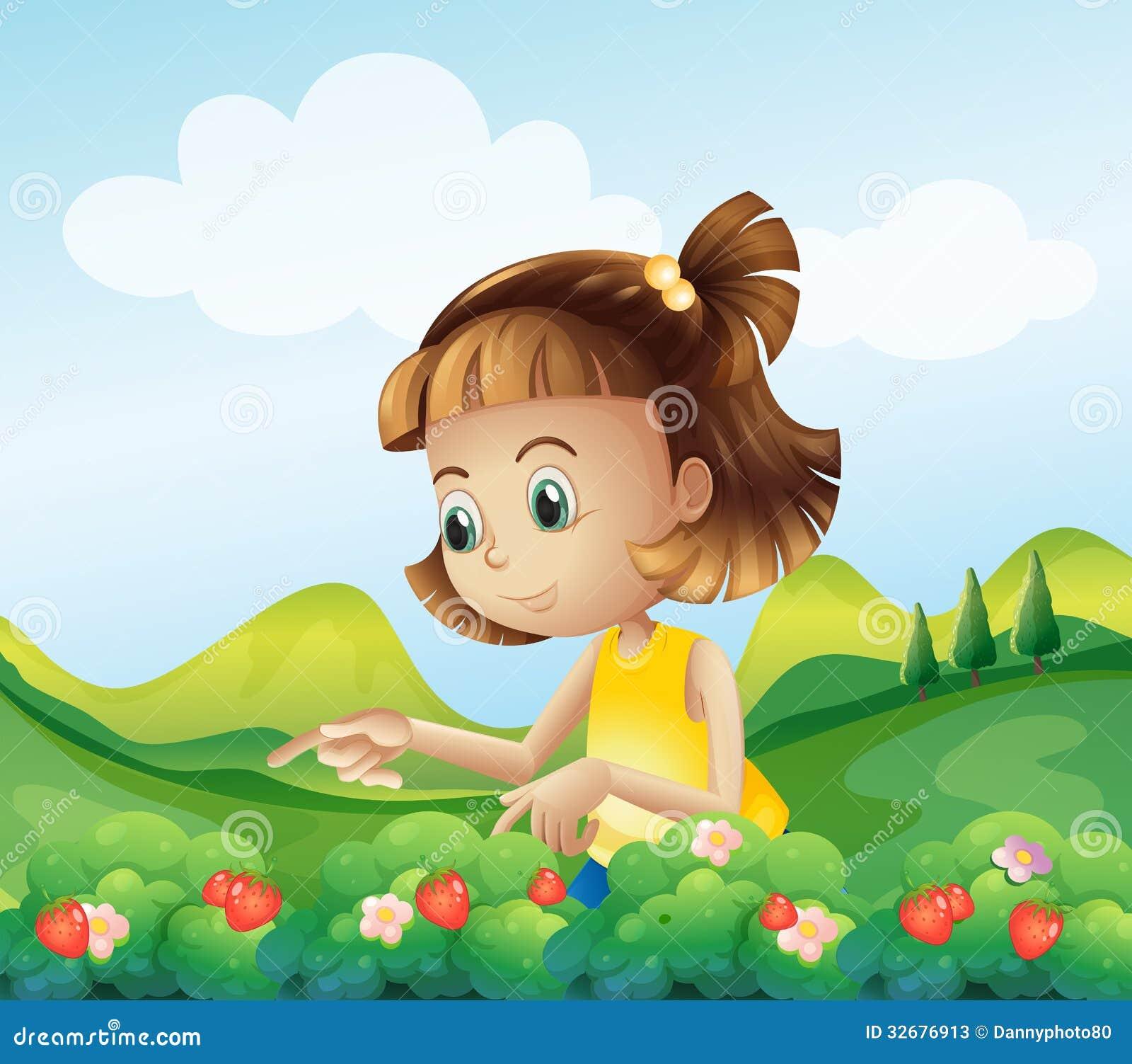 草莓农场的一个小女孩图片