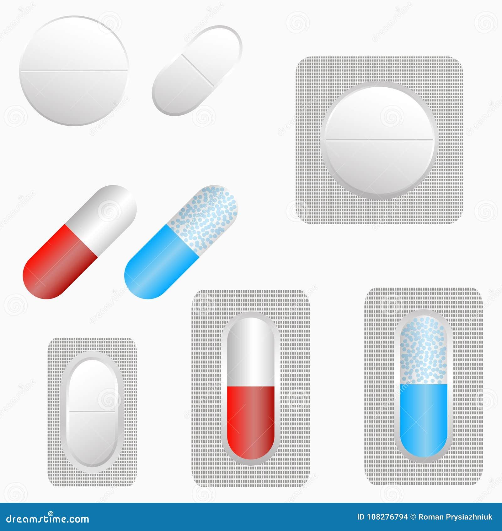 药片、套片剂和胶囊 在天线罩包装的医学 向量