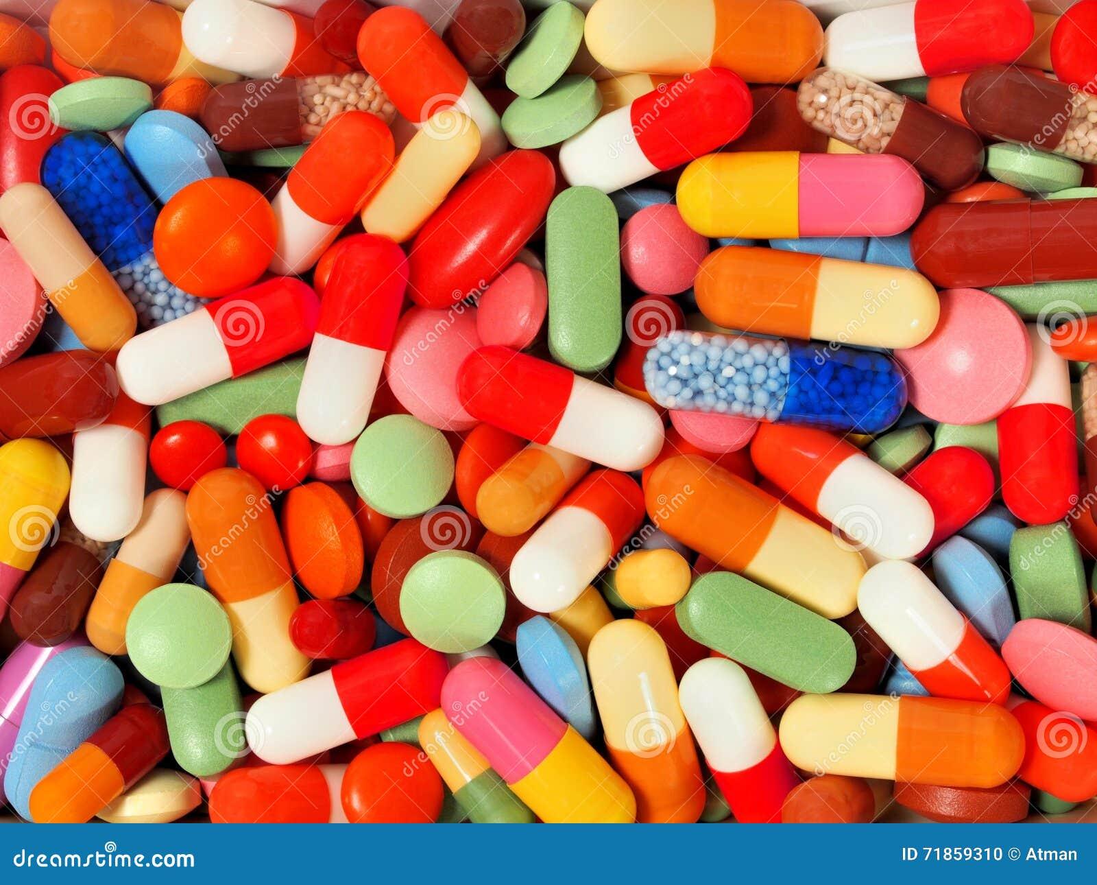 从药片和胶囊的背景