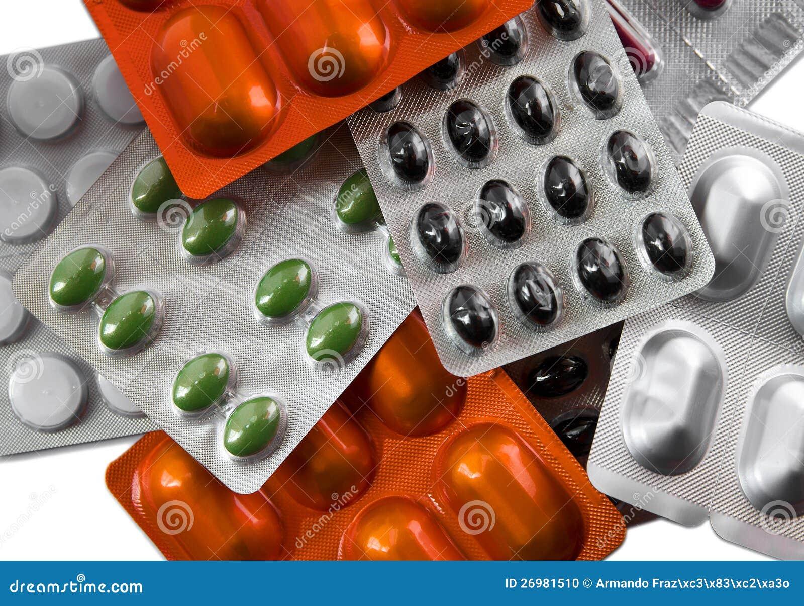 药片被分类的天线罩包装